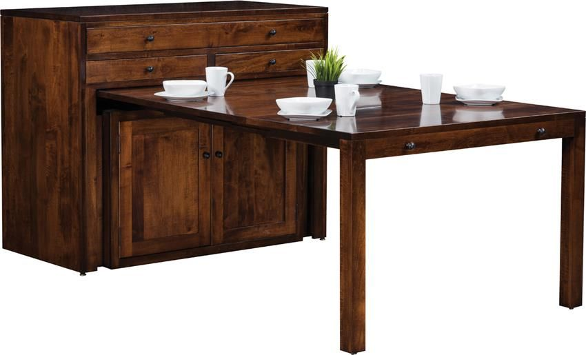 Amish Century Buffet With Pullout Dining Table Transitional