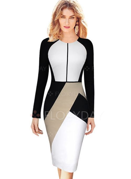 30d1139df2 Dresses -  53.85 - Cotton Polyester Color Block Long Sleeve Knee-Length  Elegant…