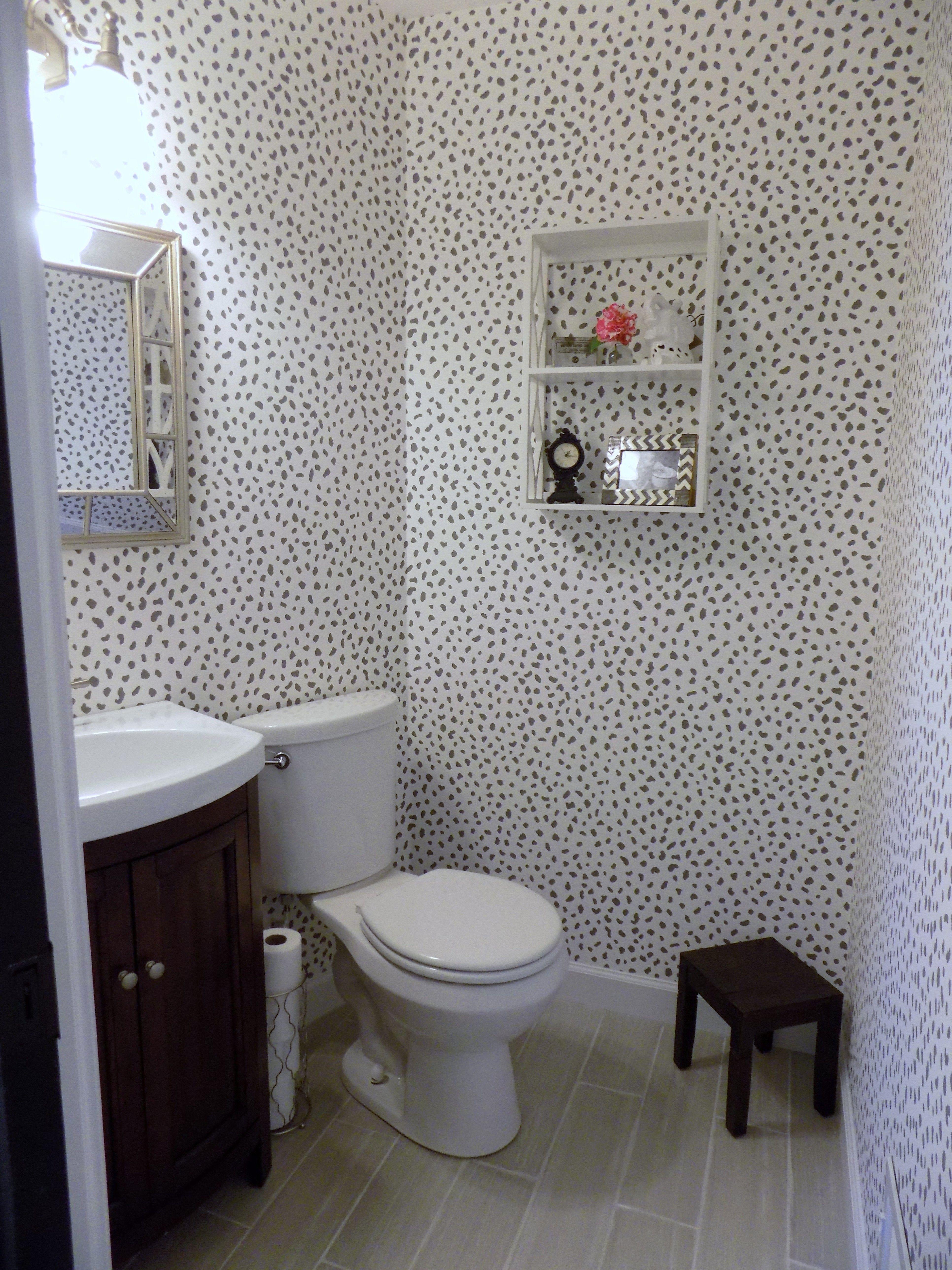 Powder Room Reveal Thibaut Tanzania wall paper Pottery Barn