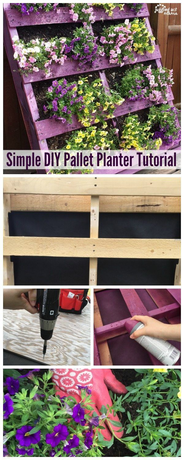 DIY Pallet Planter is part of Pallet projects garden, Diy garden projects, Pallet planter, Pallets garden, Pallet diy, Garden design ideas on a budget - This gorgeous DIY Pallet Planter will be the talk of your neighborhood  It's easier than you think and you'll love planting annuals in it year after year!