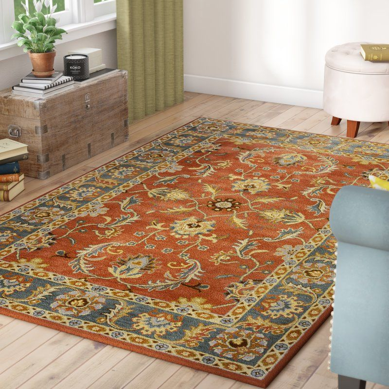 Waterston Oriental Handmade Tufted Wool Rust Charcoal Area Rug