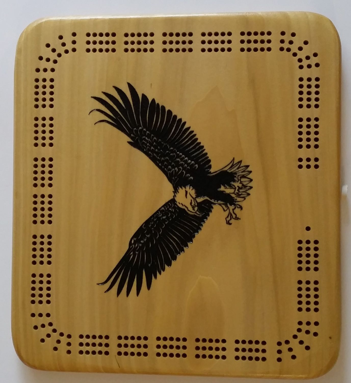 eagle logo wooden cribbage board  Custom made unique cribbage board great personnalized gift idea (35.00 USD) by CustomSignsandTags
