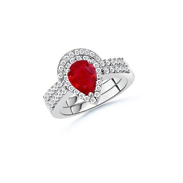 Ruby Diamond Engagement Ring Set with Matching Band   Angara.com ($5,729) ❤ liked on Polyvore featuring jewelry, rings, wedding band rings, ruby wedding rings, ruby ring, ruby engagement rings and diamond rings