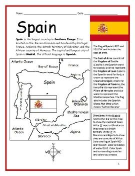 spain printable handout with map and flag europe geography worksheets and activities. Black Bedroom Furniture Sets. Home Design Ideas