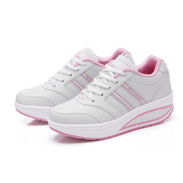 Frauen Schuhe Sneakers Plattform atmungsaktiv Trainer Lace up Shape ups Slip on