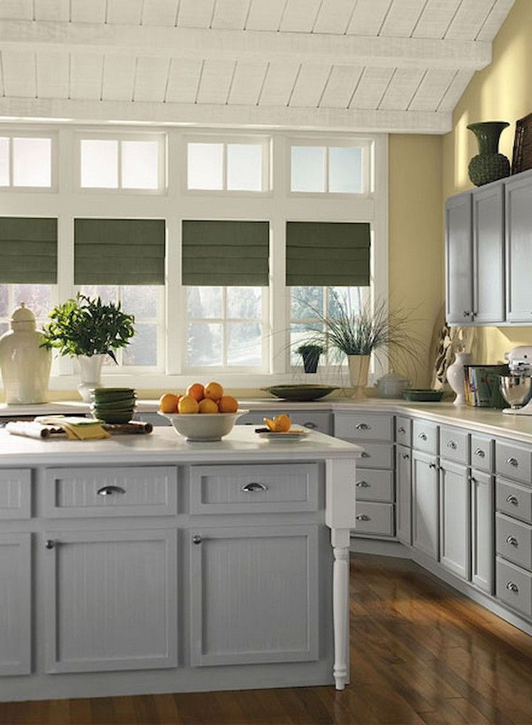 38 Beautiful Farmhouse Gray Kitchen Cabinet Ideas Yellow