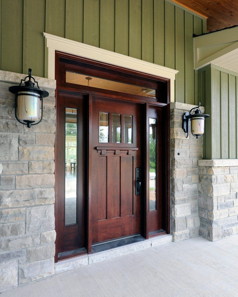 Craftsman Front Doors Craftsman Porch Facade House: Stone Around Front Door Entry Craftsman With Porch Mahogany Front Doors