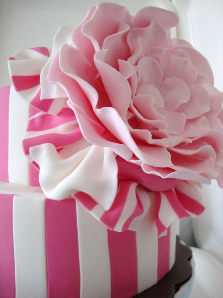 Cake Decorating in Pink and White