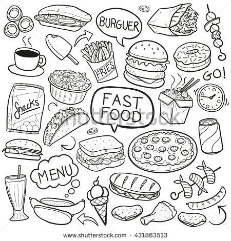 Fast Food Doodle Icons Hand Made Doodles In 2019 Food