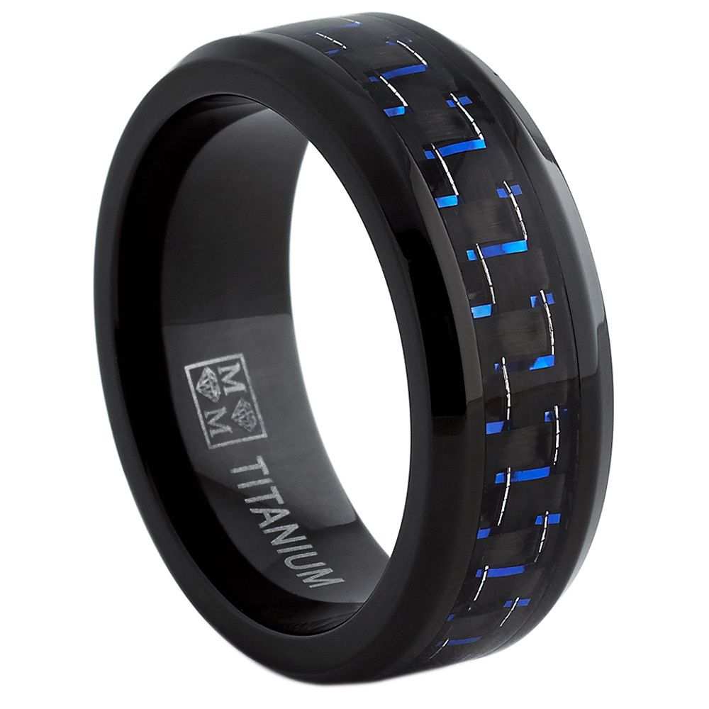 Oliveti Black Titanium Men's Black And Blue Carbon Fiberfort Fit Band  (8mm)  Mens Titanium Ringsmens Titanium Wedding