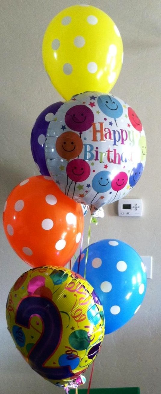 Happy Birthday Balloon Bouquet 2 Years Old Orange Purple Blue Yellow Rainbow Check Out Balloonville On