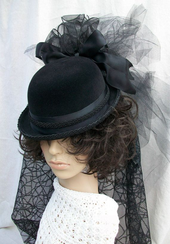 1fb6deb194a8b Black Bolo Derby Bowler Hat Spider Lace Netting by AmericanGirl51