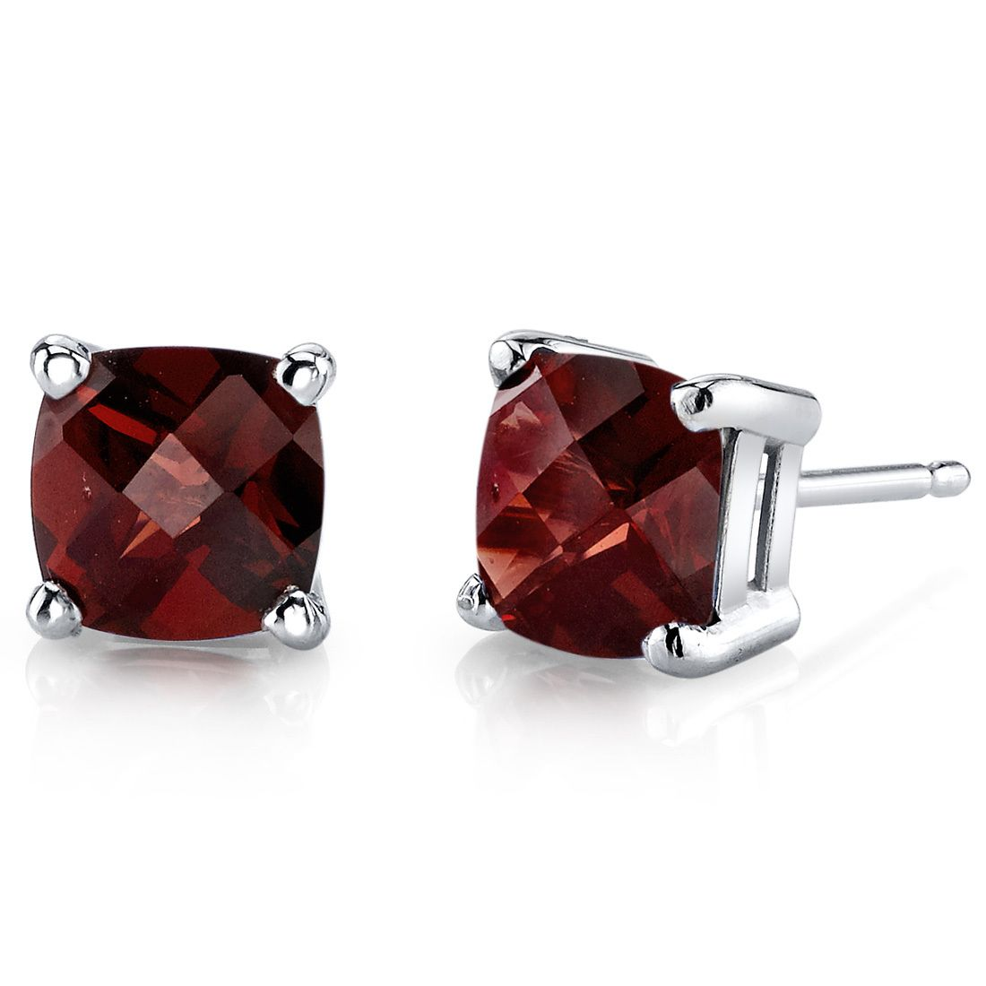 Women's 14k White Gold Cushion Cut Garnet Stud Earrings. BUY NOW AND SAVE! Use Promo Code Pin9175 AND SAVE 15% ON YOUR ENTIRE ORDER!