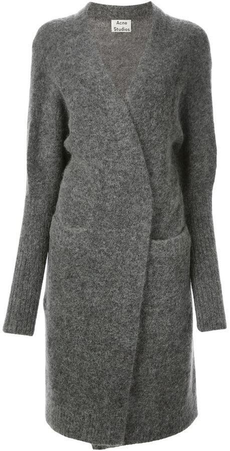 Acne Studios Knitwear Gray Womens Raya knitted cardigan Gray