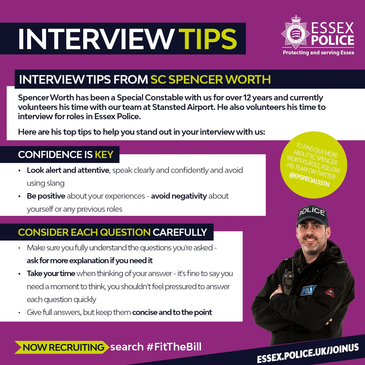 Spencer Has Been A Special Constable With Us For Over 12 Years And Currently Volunteers His Time With Our Team A Essex Police Police Recruitment Interview Tips