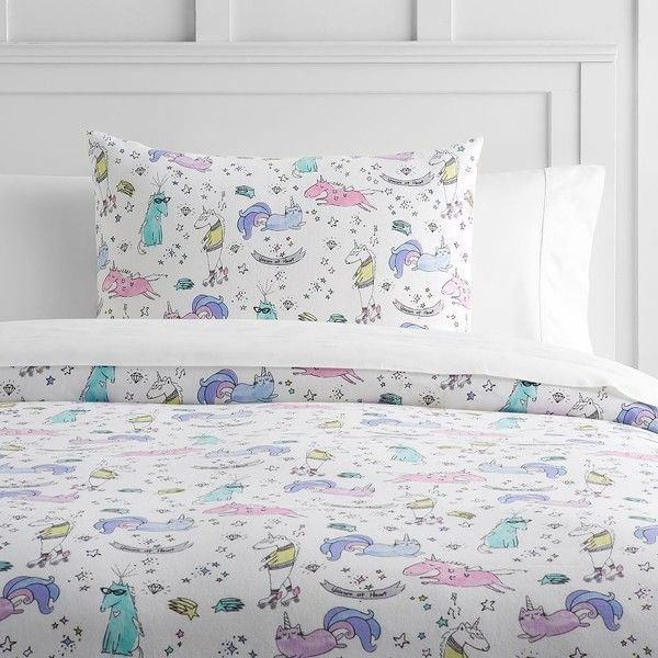 PB Teen Unique Unicorn Flannel Duvet Cover, Twin, Multi ($79) ❤ Liked