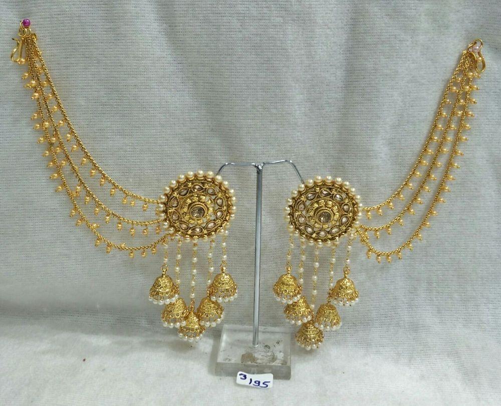 Indian Jewelry Ethnic Pearl Gold Cz Stone Layer Long Jhumki Earrings