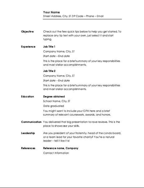 Chronological resume Minimalist design Curriculum vitae resume