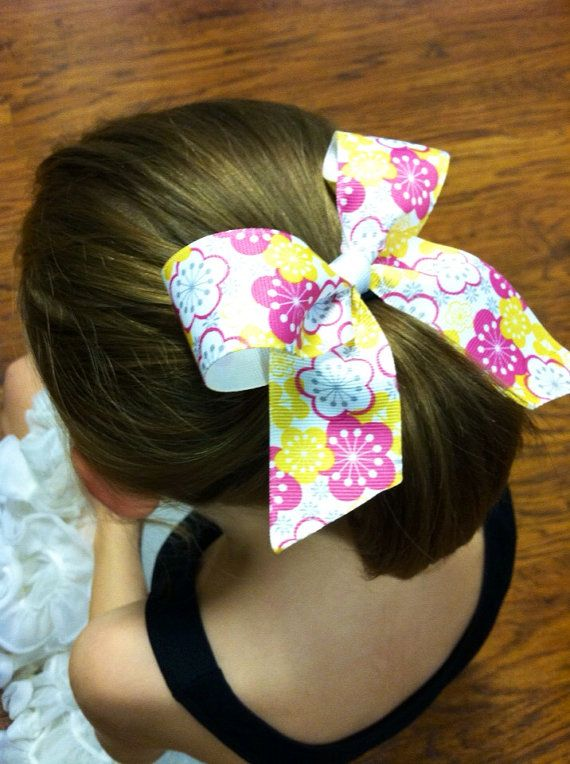 Pink and Yellow Floral Hair Bow on Ponytail by PurpleElephant84, $4.95