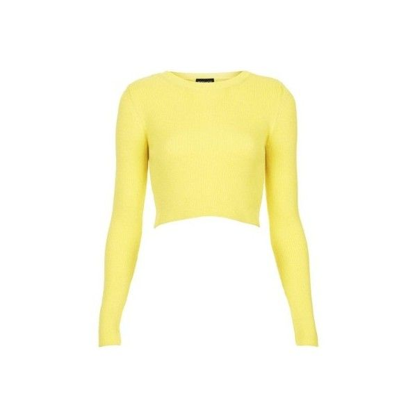 2b97601247976b TOPSHOP Rib Crop Top found on Polyvore Yellow Long Sleeve Tops, Yellow Crop  Top,