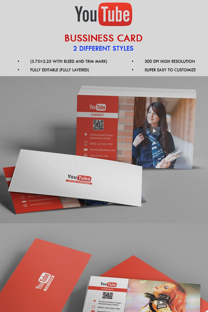 Youtube Channel Business Card Corporate Identity Template 68081
