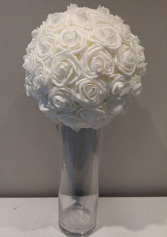 Elegant 10 Wedding White Foam Flower Ball Wedding By Kimeekouture 42 00 Enfeites