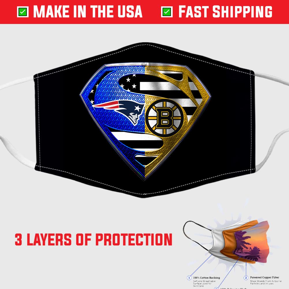 New England Patriots And Boston Bruins Diamond Superman Face Mask In 2020 New England Patriots Face Mask Patriots
