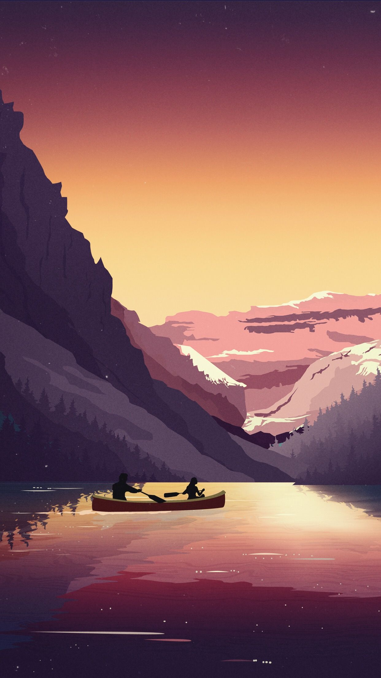 Two people on a boat on a lake surrounded by mountains and