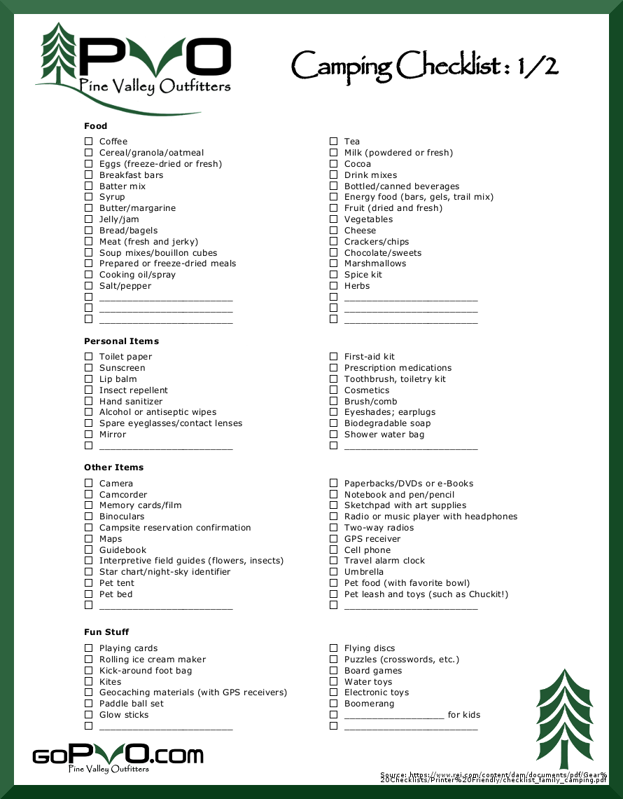 pvo camping checklist 1/2. printable. | latest camping gear