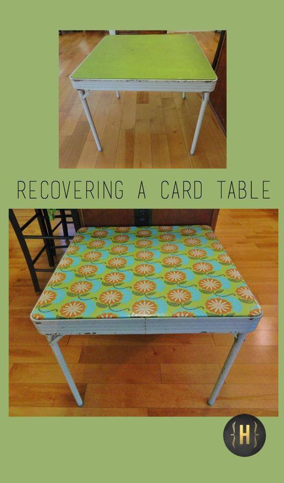 Recovering A Card Table Homeology Modern Vintage Repurposed Furniture Diy Thrift Store Furniture Makeover Diy Diy Furniture Bedroom