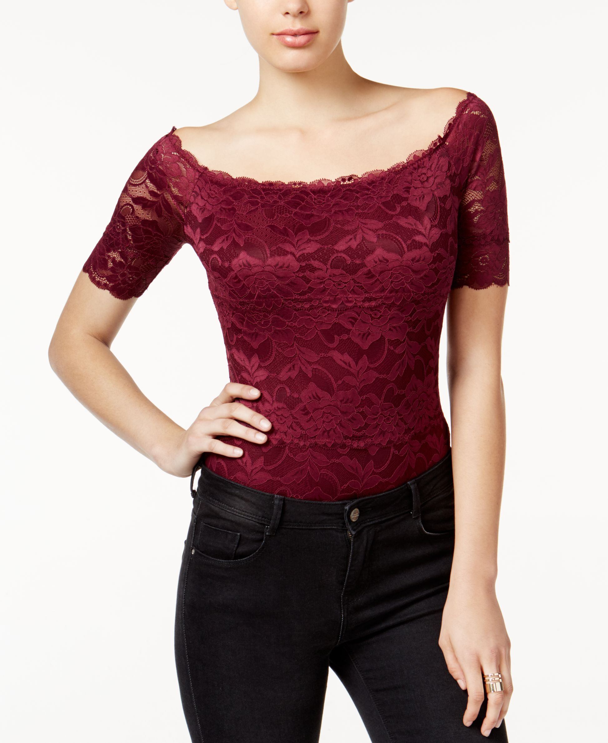 e01604b33e40 Guess Dara Off-The-Shoulder Lace Bodysuit