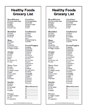 these two printable black and white grocery lists have two columns per list and are prefilled with dozens of the healthiest foods