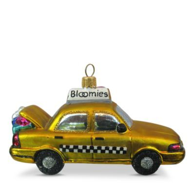 Bloomies Santa in a Taxi Glass Ornament | Bloomingdale's