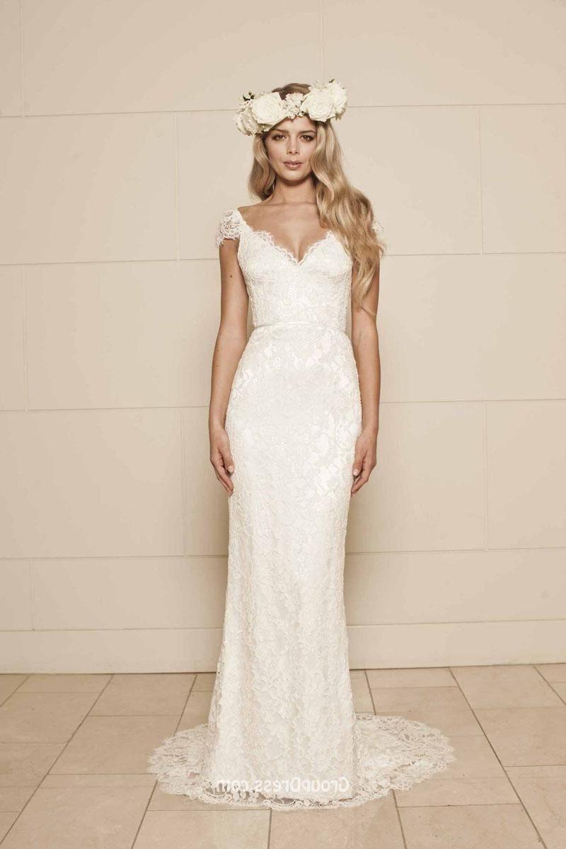 Sheath cap sleeves backless floor length simple lace wedding dress