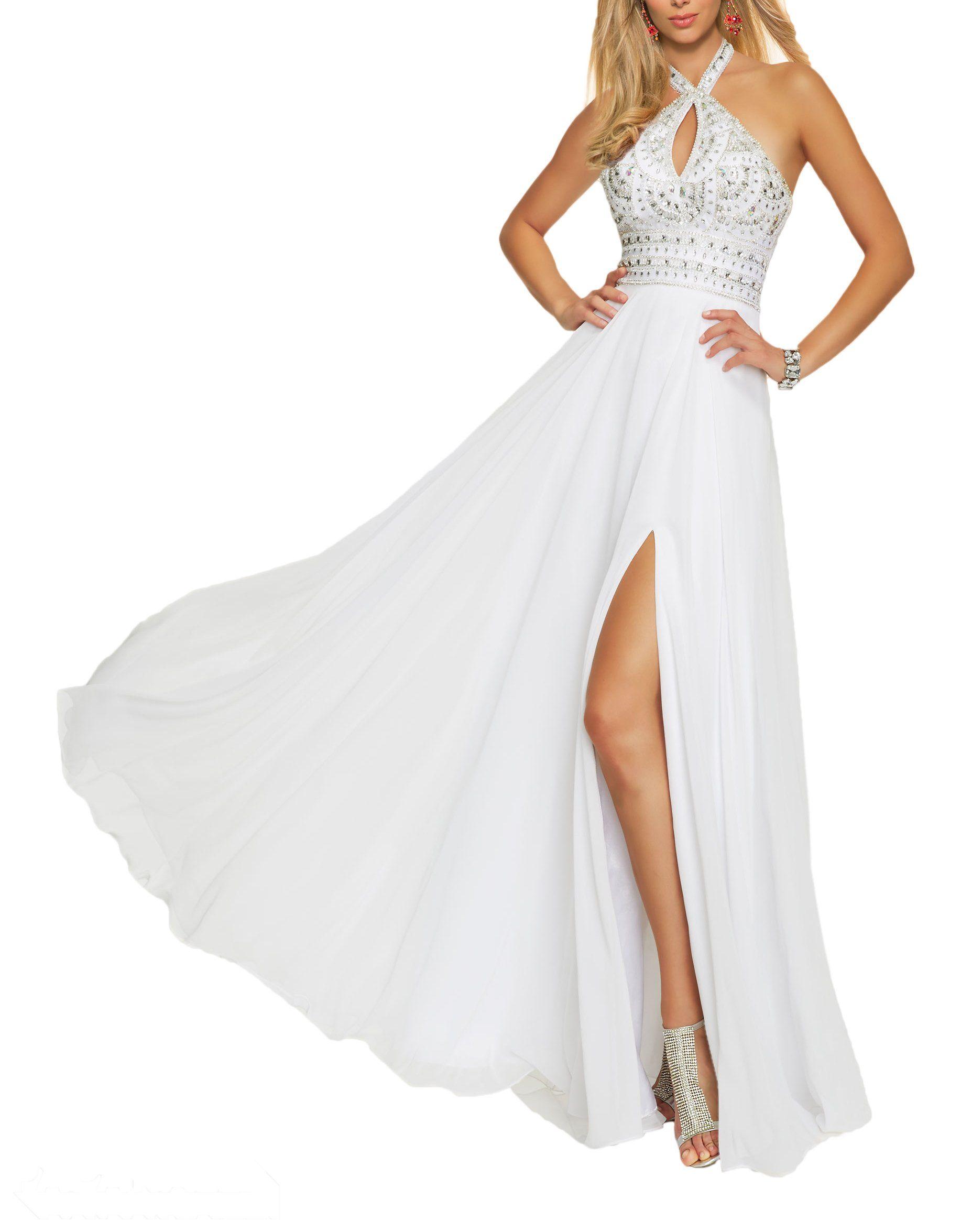 Brl mall womenus a line bead bodice chiffon split side long prom