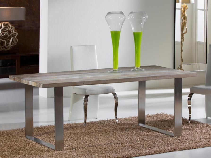 Table design de salle à manger en bois ancien et acier mate - PIRENA - modele de salle a manger design