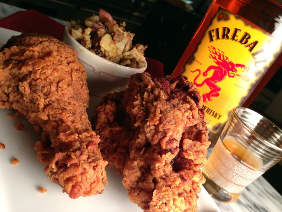 Photo of Spicy Extra Crispy Southern Fried Chicken & Fireball Cinnamon Whiskey