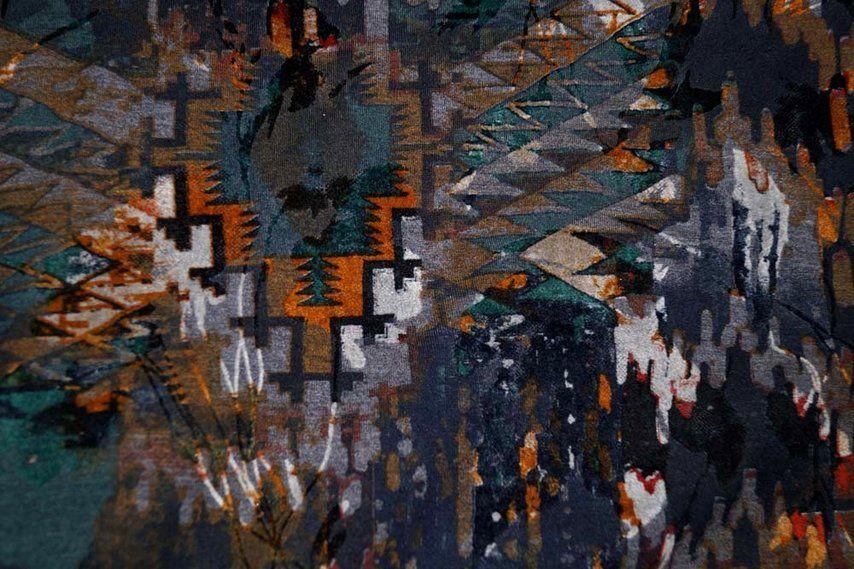 B202 Tricot dik flock opdruk fantasie donkere tinten