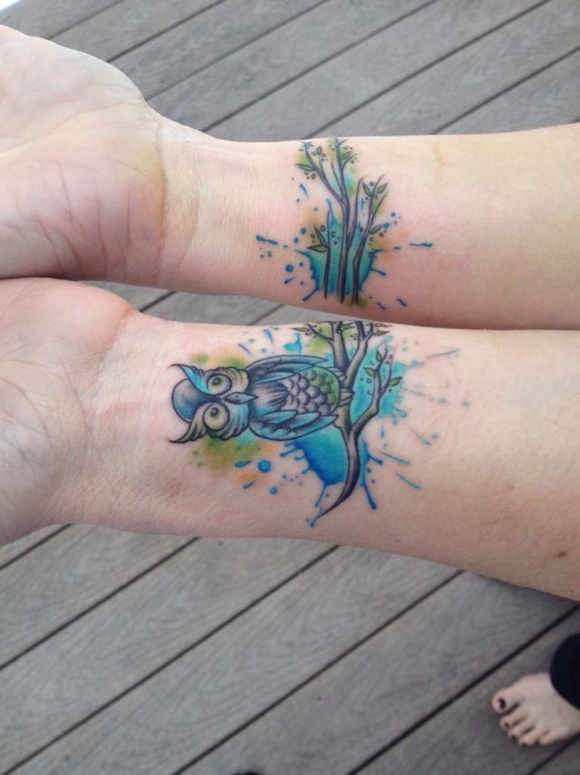 New ink. Watercolor owl wrist tattoo, Lucky Soul Tattoo, Woodbridge, CT. Thanks, Dora Sambuco - you are quite the artist!