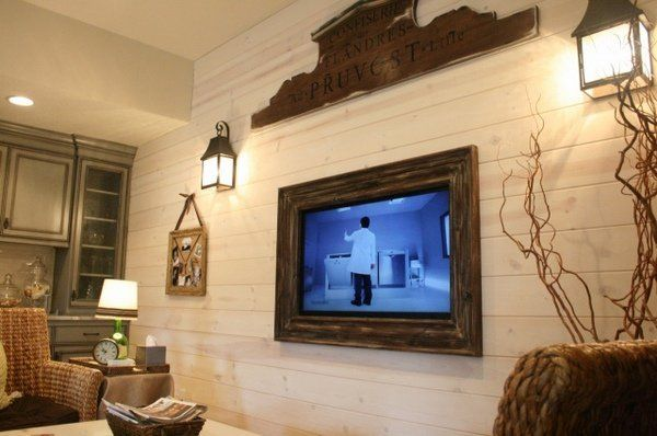 Diy Barn Wood Tv Frame Shiplap Accent Wall Living Room Framed Tv Wall Mounted Tv Frame Around Tv