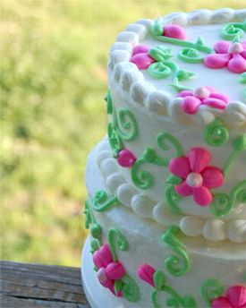 Outstanding A Photo Of A Beautiful Two Tiered Flower Birthday Cake Decorated Funny Birthday Cards Online Alyptdamsfinfo