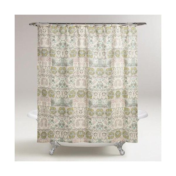 Cost Plus World Market Green Paisley Cordelia Shower Curtain 30