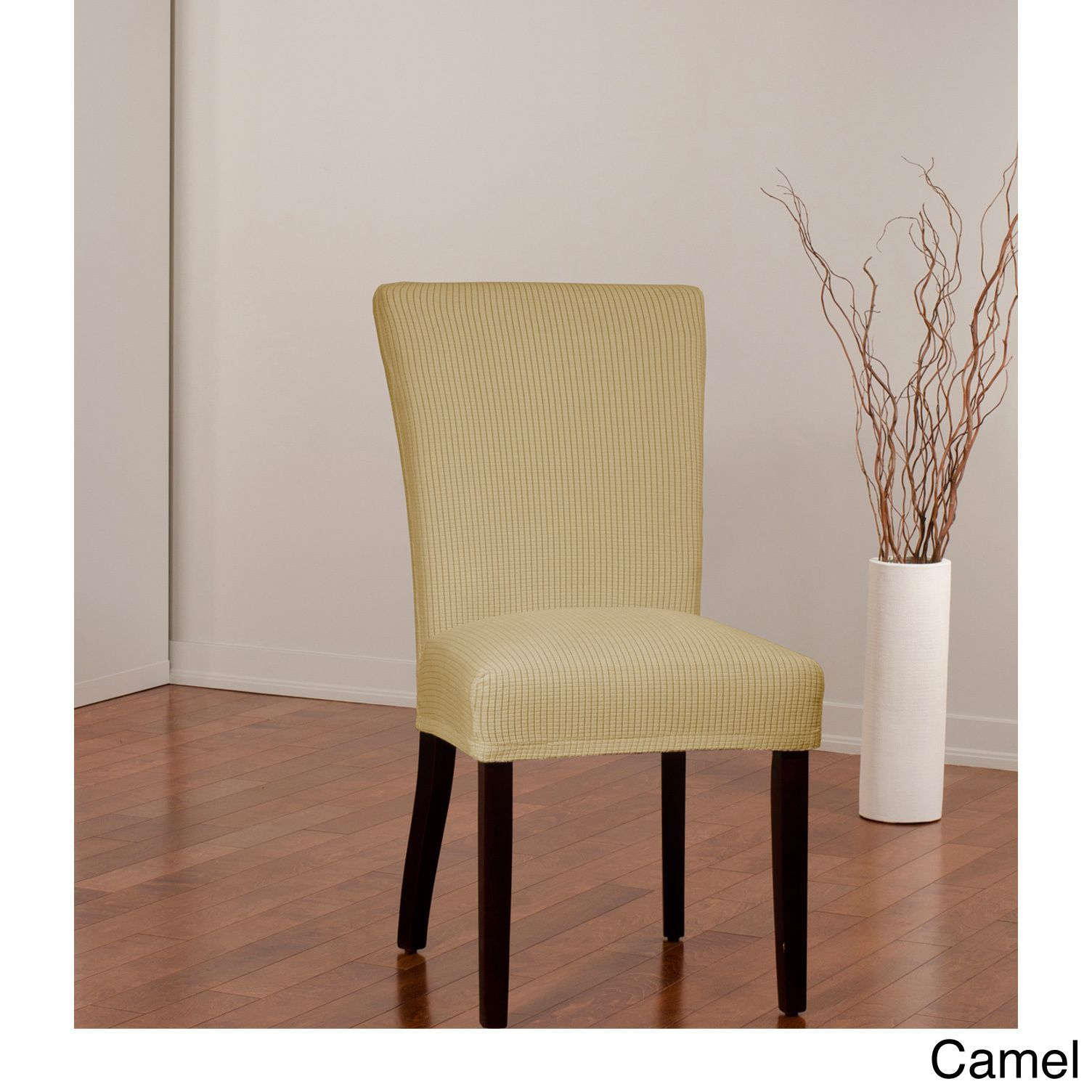 Sure Fit Montgomery II Stretch Dining Chair Slipcover (Camel) (Check)