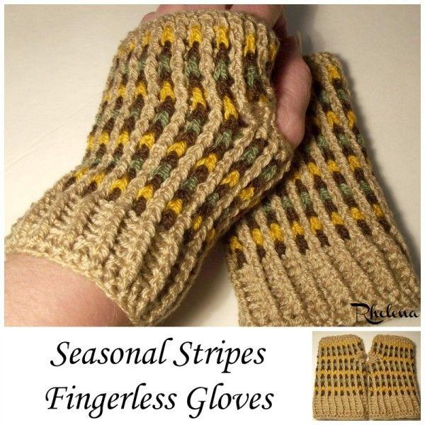 Seasonal Stripes Fingerless Gloves | CROCHET ACCESORIOS PARA EL ...