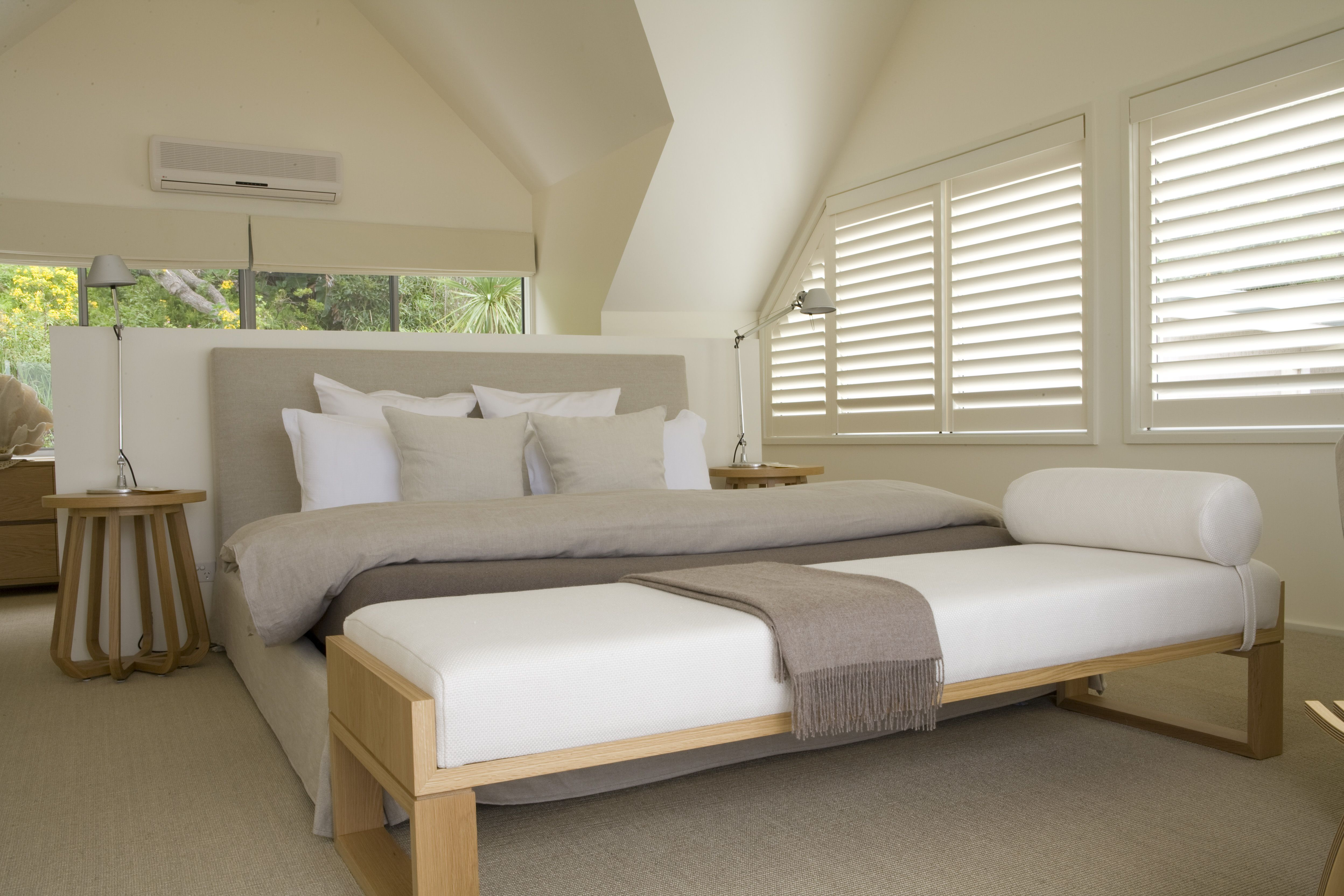 Master Bedroom With Study Behind Half Height Wall Zuster Ottoman And Jardan Bed Brooke Aitken
