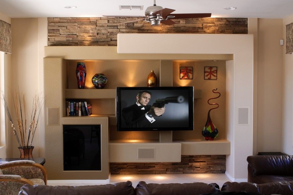 Custom media wall family room contemporary with entertainment