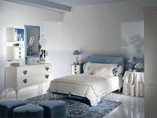 Elegantes Weiß Blaues Jugendzimmer Mädchen Blaue Schlafzimmer, Schlafzimmer  Ideen, Kinderzimmer