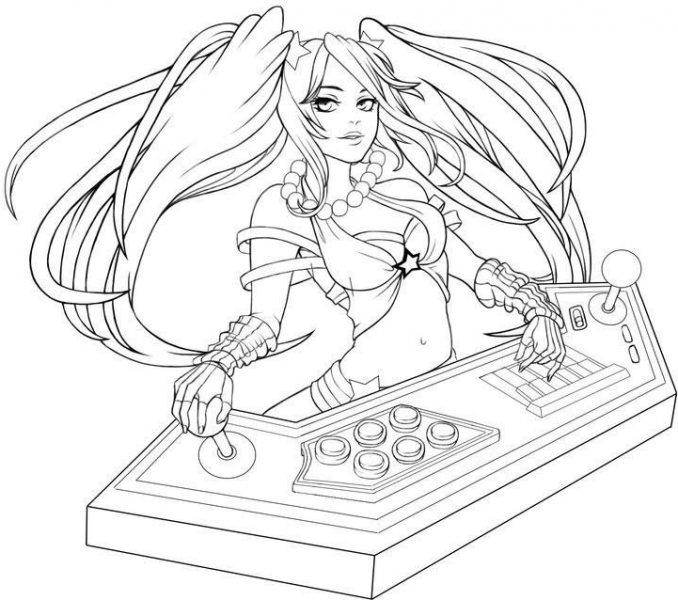 Coloriage League Of Legends Bad Ass Girl Sketches