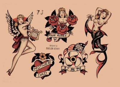 Anchor Pin Up Iron on Patch Flash Tattoo Applique Cotton Sailor Jerry Mermaid