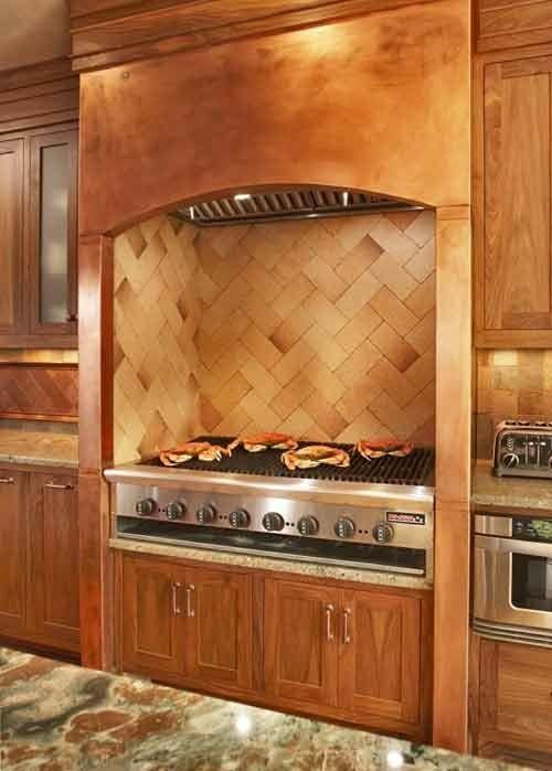 Küchen Design mit eingebautem Grill modern kochplatte holz marmor ...